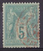 France N°75 - 5c Vert Oblitéré CàD Rouge - TB - 1876-1898 Sage (Type II)
