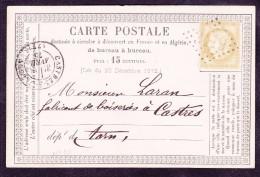 France N°55 Sur CP Précurseur N°10 - TB - 1871-1875 Cérès