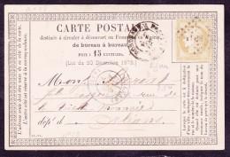 France N°55 Sur CP Précurseur N°18 - B/TB - 1871-1875 Cérès