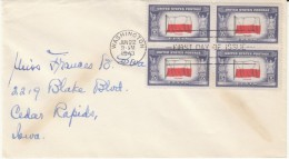 Sc#909 Block Of 4, 5-cent Over-run Countries Issue, Poland Polish Flag, WWII FDC, First Day Cover 1943 Cover - First Day Covers (FDCs)