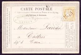 France N°59 Sur CP Précurseur N°4 - B/TB - 1871-1875 Cérès