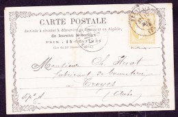 France N°59 Sur CP Précurseur N°12 - TB - 1871-1875 Cérès