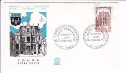 Enveloppe Premier Jour 1er FDC Tours Hotel Gouin1967 N° 599 (legères Taches) - 1960-1969