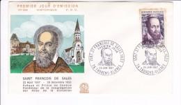 Enveloppe Premier Jour 1er FDC Saint François De Sales Thorens Glieres 1967 Tachée Dos Collé N° 606 - 1960-1969