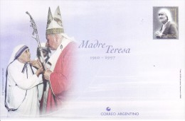 ARGENTINA UNUSED POST CARD ON MOTHER TERESA WITH POPE JOHN PAUL - Argentina