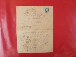 LETTRE DE VILLE D´AVRAY, AVEC GRIFFE RETOUR A L´ENVOYEUR EN ROUGE ETOILE POUR PARIS - Marcophilie (Lettres)