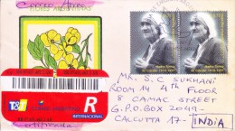 ARGENTINA 1997 FIRST DAY COVER ON MOTHER TERESA COMMERCIALLY SENT TO INDIA WITH REGISTRATION - Argentina