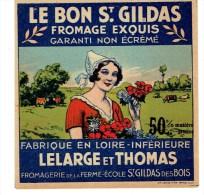 """Petite étiquette De Fromage Exquis """" LE BON ST GILDAS """" - Fromage"""
