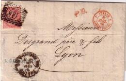 ITALIE - TURIN POUR LYON - ENTREE ROUGE ITALIE 4 LANSLEBOURG 4 - LE 6-7-1866 - AVEC TEXTE. - 1861-78 Victor Emmanuel II.
