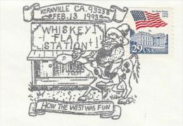 1993  USA WHISKEY FLAT  Kernville  EVENT Pmk COVER 'How The WEST WAS FUN' Illus HORSE Stamps Whisky Alcohol Drink Horses - Wines & Alcohols