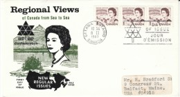 Regional View Of Canada, Queen Elizabeth II, 1-cent Canada Stamp Issue, 8 February 1967 First Day Cover FDC - 1961-1970