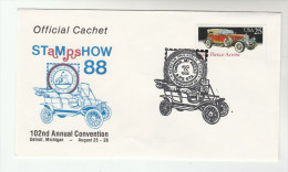 1988 DETROIT Stamp Show USA CARS Stamps EVENT COVER 1920s PIERCE ARROW CAR Philatelic Exhibition - Cars