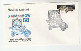 1988 DETROIT Stamp Show USA CARS Stamps EVENT COVER 1930s CORD CAR Philatelic Exhibition - Cars