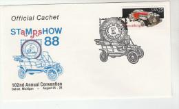 1988 DETROIT Stamp Show USA CARS Stamps EVENT COVER 1930s DUSENBURG CAR Philatelic Exhibition - Cars