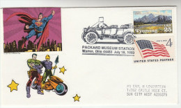 1993 USA Packard' CLASSIC CAR EVENT COVER  Cars Stamps With DC COMIC SUPERMAN LABEL - United States
