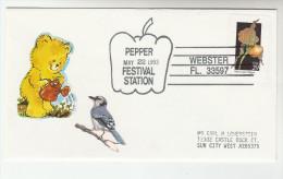 1993 USA  Webster PEPPER Vegetable EVENT COVER Stamps Teddy Bear Label Food - Vegetables