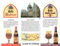Abbaye De Leffe- Bière- Brasserie Mont St Guibert- Publicité De Table- Triptyque -Recto-Verso- 22x16,5 Cm - Non Classés