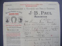 Facture Illustrée 1912 - Marseille (13) - J-B Paul : Savonneries à Vapeur Du Fer à Cheval ... - 1900 – 1949