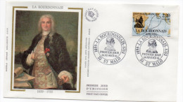 1988--enveloppe FDC Soie--Explorateurs--LA BOURDONNAIS -cachet  St MALO--35 - FDC