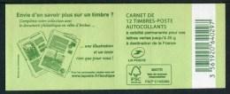 """Carnet De 2015 De 12 Timbres Autocol. De Type """"Marianne Et La Jeunesse"""" Avec Couvert. Verte """"Envie D'en Savoir Plus ..."""" - Usage Courant"""