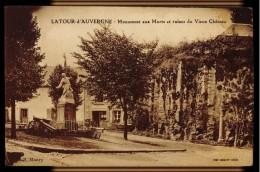 CPA 63 LATOUR D'AUVERGNE MONUMENT AUX MORTS ET RUINES DU VIEUX CHATEAU COLL MANRY PHOT COMBIER MACON - Otros Municipios