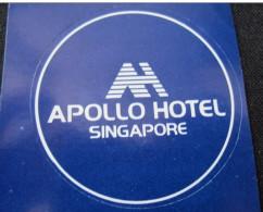 MINI HOTEL MOTEL INN MOTOR HOUSE APOLLO SINGAPORE MALAYSIA TAG STICKER LUGGAGE LABEL ETIQUETTE AUFKLEBER - Hotel Labels