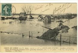 Carte Postale Ancienne Joué Les Tours - Crue Du Cher 1910. Jardins Et Habitations Du Pont Du Sanitas - Inondations - Frankrijk