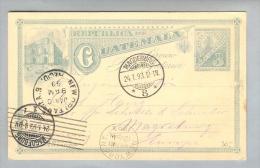 Guatemala 1892-12-29 Bild-Ganzsache Nach Magdeburg 3 Cent. - Guatemala