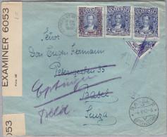 Guatemala 1942-01-12 Zensurbrief Nach Basel(Eptingen) Halbierung - Guatemala