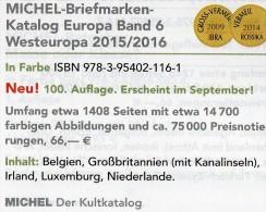 West-Europa Band 6 Katalog 2015/2016 Neu 66€ MICHEL Belgien Irland Luxemburg Niederlande UK GB Jersey Guernsey Man Wales - Deutsch