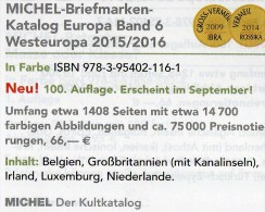 West-Europa Band 6 Katalog 2015/2016 Neu 66€ MICHEL Belgien Irland Luxemburg Niederlande UK GB Jersey Guernsey Man Wales - German