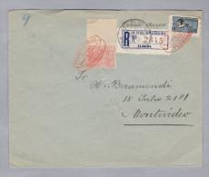 URUGUAY 1925-08-25 Montevideo-Ungarn R-Flugpost-R-Brief - Uruguay
