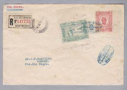 URUGUAY 1925-09-23 Brief Vorderseite Mit Selten Teilgezähnten Marken - Uruguay