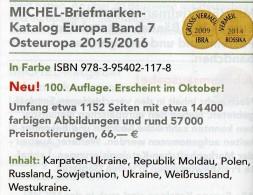 Ost-Europa Band 7 Briefmarken Katalog 2015/2016 Neu 66€ MICHEL Polska Russia SU Sowjetunion Ukraine Moldawia Weißrußland - Alte Papiere
