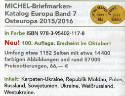 Ost-Europa Band 7 Briefmarken Katalog 2015/2016 Neu 66€ MICHEL Polska Russia SU Sowjetunion Ukraine Moldawia Weißrußland - Tedesco