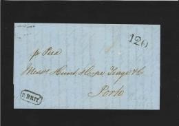 """L. par bateau  de MALTE 7/12/1858 pour  PORTO + passage oval """"LISBOA""""17/12/1858 /  C�d """" PORTO"""" 20/12/1858 + PORT """"120"""""""