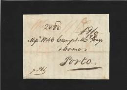 """L, par bateau de LONDRES pour PORTO / 1812 / ports 11/8 et """" 1910/170/2080"""" manuscrits"""