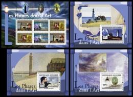 GUINEA 2007 - Lighthouses In Art - YT 3011-3 + BF615-7, Mi 4821-3 + B1257-9 - Kunst