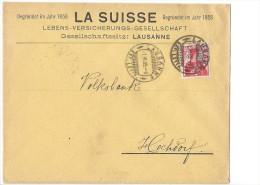 12694 - Lettre Gegründet Im Jahr 1858 LA SUISSE Lebens-Versicherungs Lausanne Pour Hochdorf 01.06.1909 - Suisse