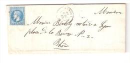 """Lettre De MONSOL / Monsols , Rhône, Cachet De FACTEUR """" OUROUX """", GC 2411 Sur N° 29, 28 Avril 1868 > Lyon - Marcophilie (Lettres)"""