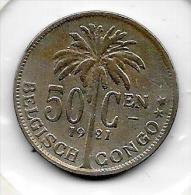 50 Centimes  Albert I  1921 FL Congo-Belge  Belle Qualité - Congo (Belge) & Ruanda-Urundi