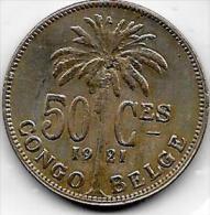 50 Centimes  Albert I  1921 FR Congo-Belge  Belle Qualité - Congo (Belge) & Ruanda-Urundi