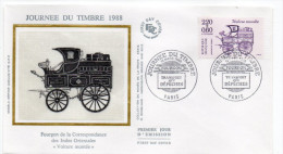 1988--enveloppe FDC Soie--Journée Du Timbre-Fourgon De La Correspondance Des Indes Orientales-tp Feuille--cachet  PARIS - FDC