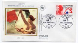1988--enveloppe FDC Soie--Liberté Bicentenaire De La Révolution--cachet  Philexfrance Paris-METZ-57 - FDC