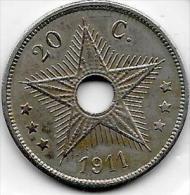 20 Centimes  Albert I  1911  Congo-Belge Très  Belle Qualité - Congo (Belge) & Ruanda-Urundi
