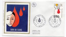 1988--enveloppe FDC Soie--DON Du Sang --cachet  ---METZ-57 - FDC
