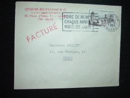 LETTRE TP CAHORS 12F OBL.MEC.21-6-1956 REIMS PPAL MARNE (51) FOIRE DE REIMS CHAQUE ANNEE MOIS DE JUIN - Marcophilie (Lettres)