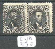 EUA Scott  77 Horizontal Pair (3 Neighboring Stamps) Very Good Signed YT 28 # - Used Stamps