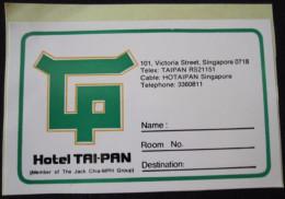 HOTEL MOTEL INN MOTOR HOUSE PENSION LODGE TAI PAN VICTORIA SINGAPORE MALAYSIA STICKER LUGGAGE LABEL ETIQUETTE AUFKLEBER - Hotel Labels