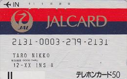 Télécarte Ancienne Japon / 110-19216 - AVIATION - JAPAN AIRLINES Front Bar Phonecard / B - Balken TK - Avion 906 - Avions